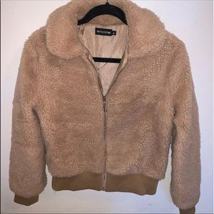 Pretty Little Thing Sherpa Bomber Jacket, Small
